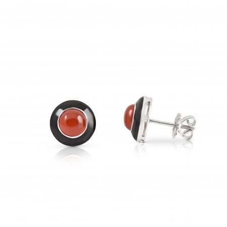 Carnelian And Black Enamel Earrings | B20633