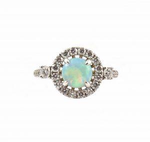 Opal And Diamond Halo Ring | B15108
