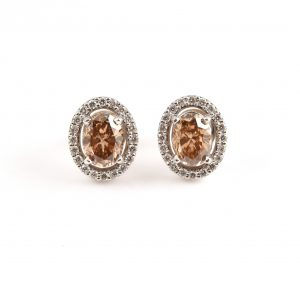 Champagne And Diamond Halo Stud Earrings | B22663