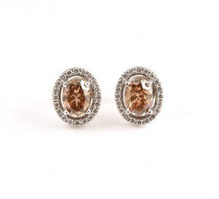 Champagne And Diamond Halo Stud Earrings | B22663
