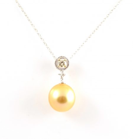 Gold South Sea Pearl And Diamond Pendant | B21570