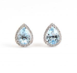 Aquamarine and diamond halo earrings | B22698