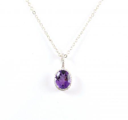 Amethyst And Diamond Pendant | B21258