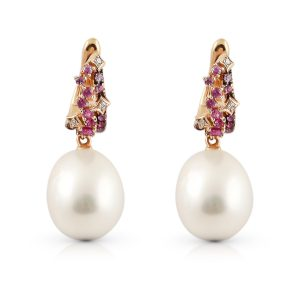 Autore South Sea Pearl And Pink Sapphire Earrings | B22540