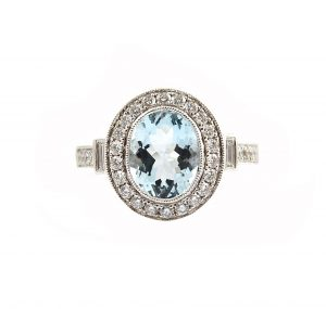 Aquamarine Oval And Diamond Dress Ring | B22810