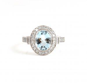 Aquamarine and diamond dress ring  B22810