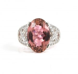 Pink Tourmaline oval and diamond dress ring | B22817