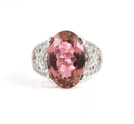 Pink Tourmaline oval and diamond dress ring | B22817