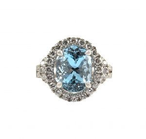 Aquamarine Oval And Diamond Dress Ring | B22821