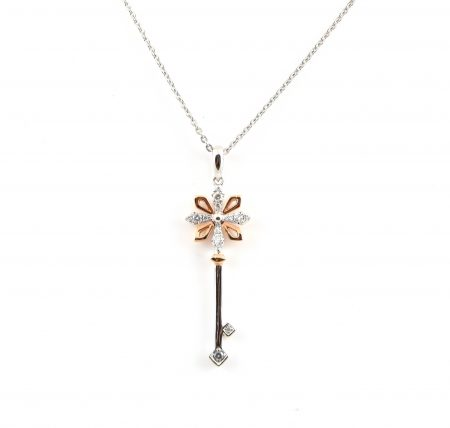 Diamond set key pendant | B22847