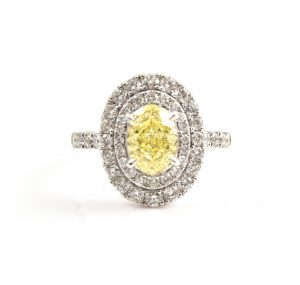 Oval Cut Yellow Diamond Engagement Ring | B22833