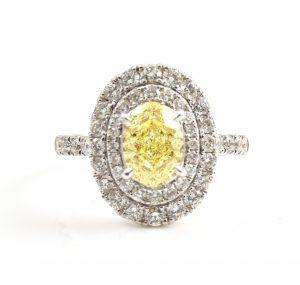 Oval Cut Yellow Diamond Engagement Ring | B22833