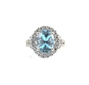 Aquamarine oval and diamond dress ring   B22821