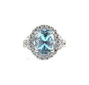 Aquamarine oval and diamond dress ring | B22821