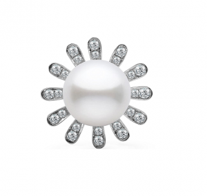 Fresh Water Pearl And Diamond Flower Ring | B15365