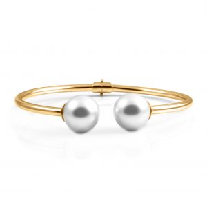 Yellow Gold South Sea Pearl Hinged Bangle | B22378