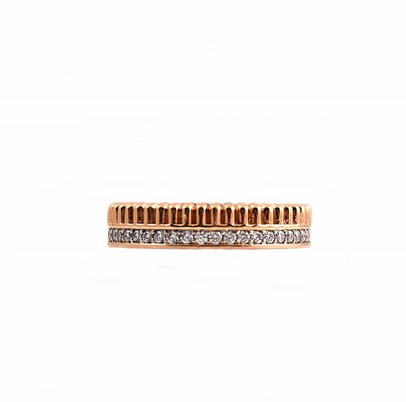 Double Row Diamond And Pattern Wedding Band   B22791