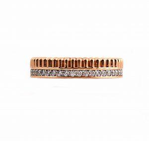 Double Row Diamond And Pattern Wedding Band | B22791
