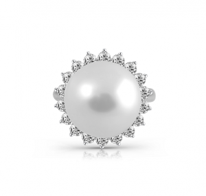 South Sea Pearl And Diamond Halo Ring | B22792