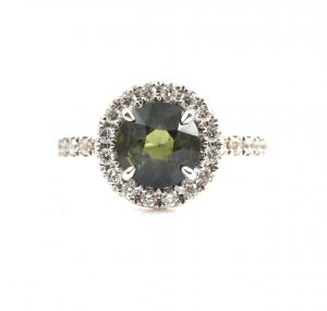 Australian Green Sapphire And Diamond Ring | B22920