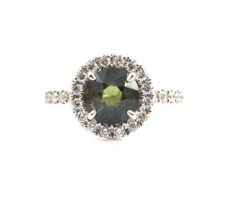 Australian Green Sapphire And Diamond Ring | B22920