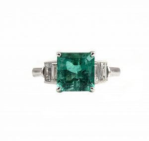 Emerald And Baguette Diamond Dress Ring | B22947