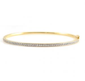Yellow Gold Diamond Hinged Bangle | B22969