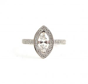 Marquise And Diamond Halo Engagement Ring | B22975