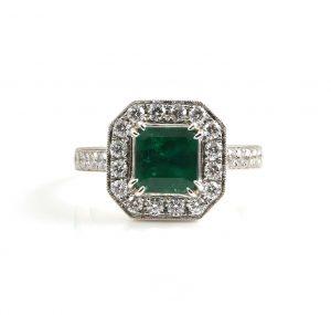 Emerald And Diamond Dress Ring   B22851
