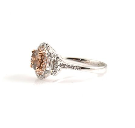 Cognac And Diamond Fancy Dress Ring | B22820