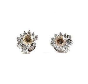 Champagne And Baguette Diamond Earrings   B22892