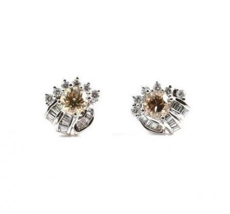Champagne And Baguette Diamond Earrings | B22892