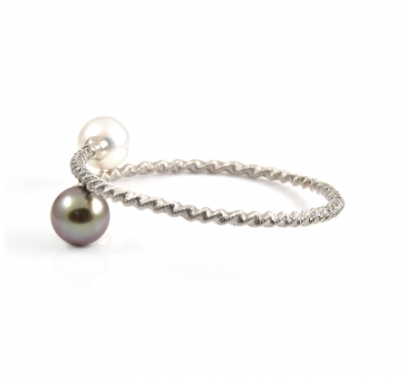 Tahitian And White South Sea Pearl Twist Bangle | B22984