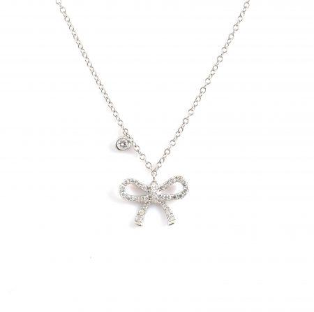 Claw Set Diamond Bow Necklace | B22986