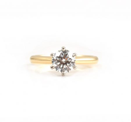 Two Tone Round Brilliant Cut Diamond Engagement Ring | B23029