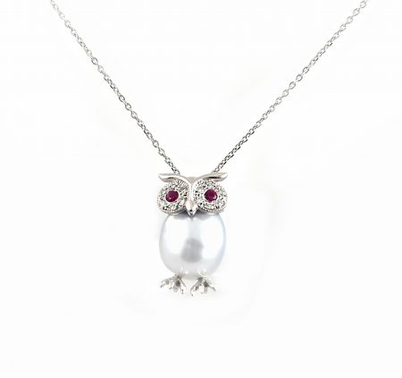 South Sea Pearl Ruby and Diamond owl pendant | B23042