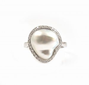 Keshi Pearl And Diamond Halo Ring | B23043