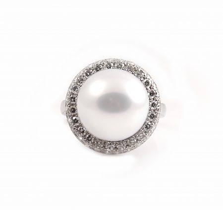 South Sea Pearl And Diamond Halo Dress Ring | B23044