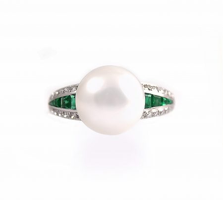 Autore Emerald And Diamond Pearl Ring | B23054