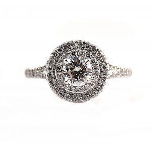Round Brilliant Cut Double Halo Diamond Engagement Ring | B23120