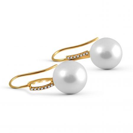 Yellow Gold Fresh Water And Diamond Earrings | B20301