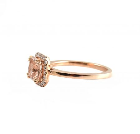 Morganite Cushion Cut and Diamond Dress Ring | B22475