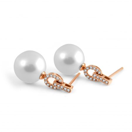 Rose Gold Diamond And South Sea Pearl Earrings | B22591