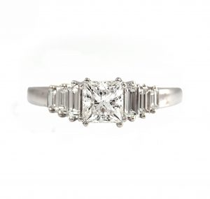Princess And Baguette Diamond Engagement Ring | B23074