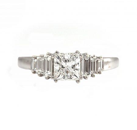 Princess And Baguette Diamond Engagement Ring | B23074