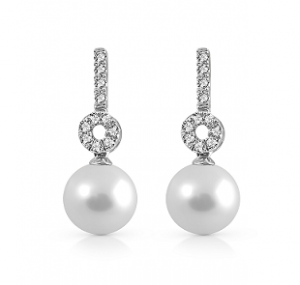 Fresh Water Pearl And Diamond Earrings | B22926