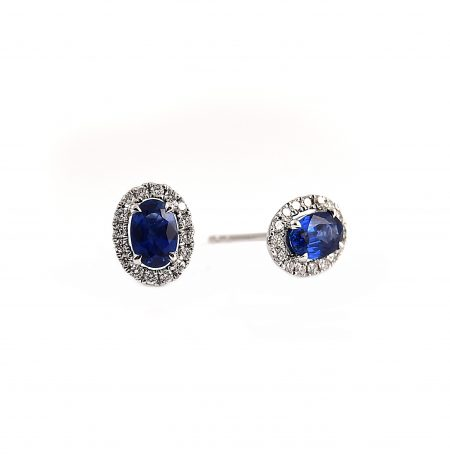 Sapphire Oval And Diamond Halo Earrings | B23119