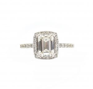 Emerald Cut Diamond Halo Engagement Ring | B23139
