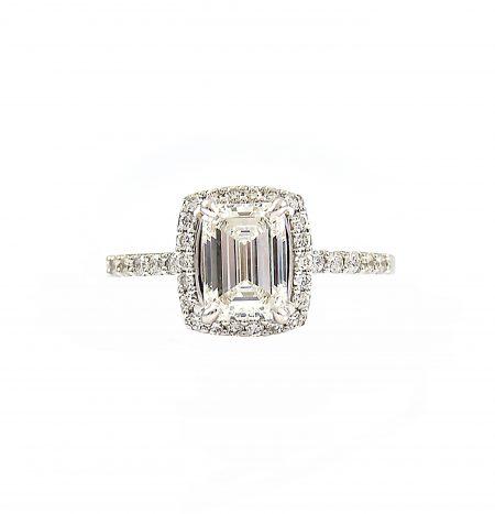 Emerald Cut Diamond Halo Engagement Ring | B23139