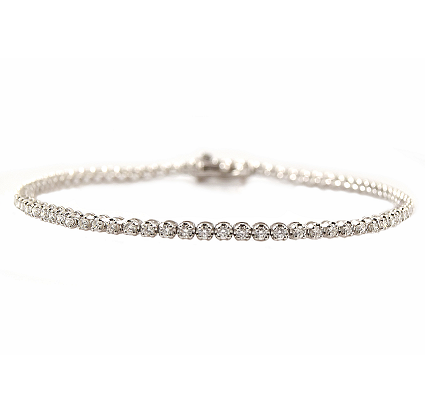 White Gold Claw Set Diamond Tennis Bracelet | B23150